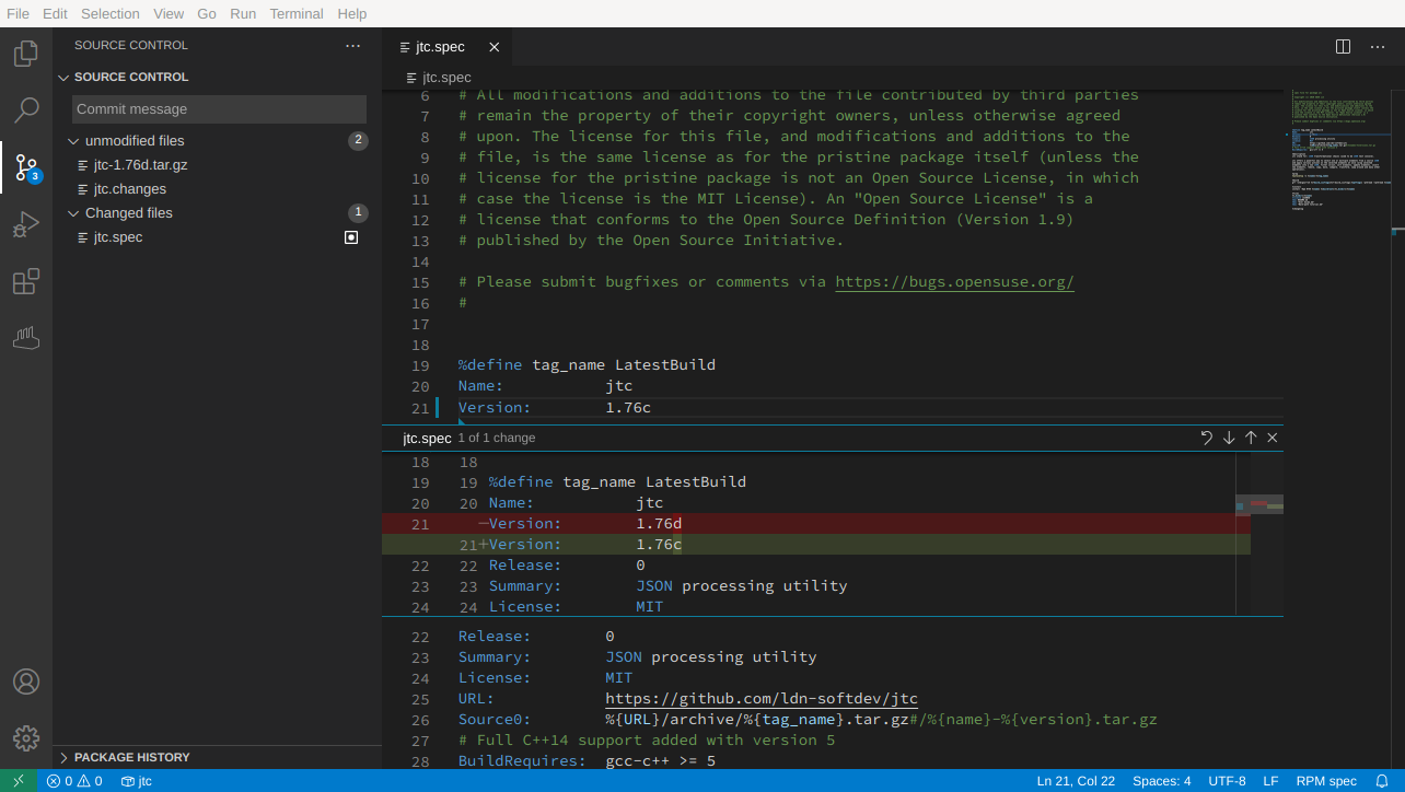 Changes to locally checked out packages are highlighted by Visual Studio Code