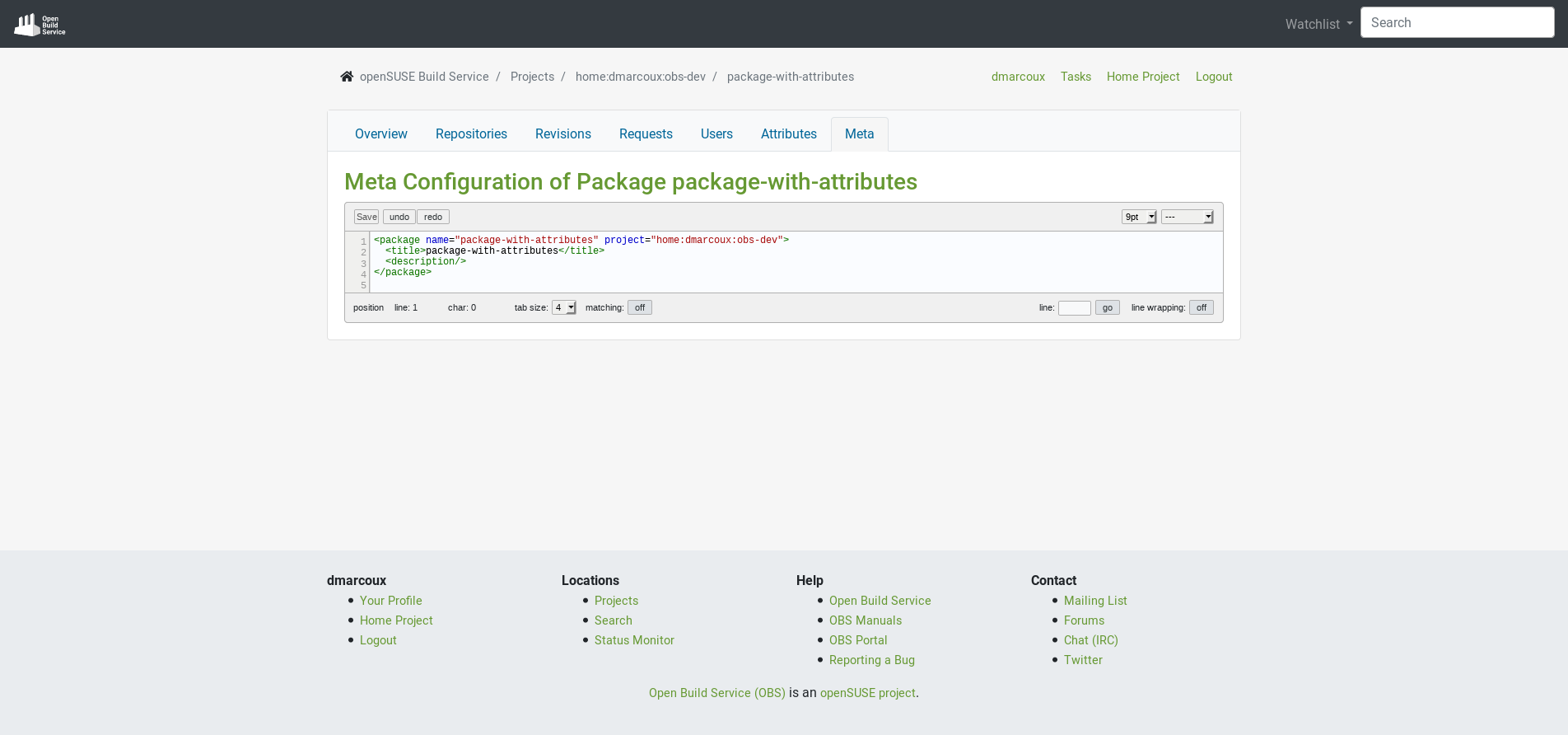 Package meta configuration in new UI