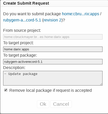 Submit request dialog